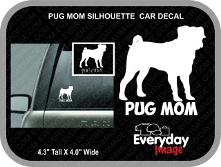 PUG MOM CAR DECAL