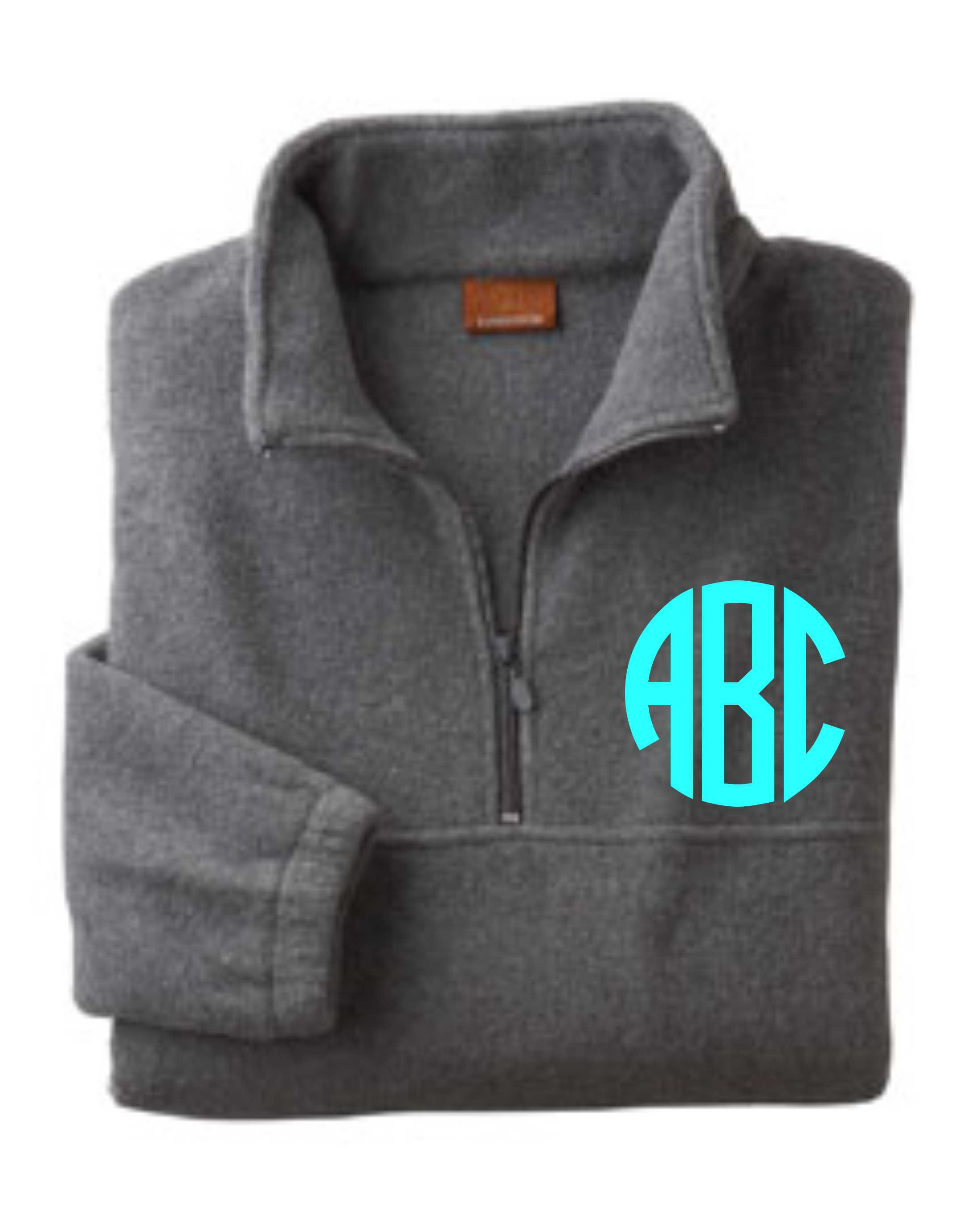 QUARTER ZIP FLEECE PULLOVER WITH MONOGRAM