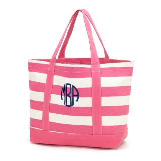 PINK STRIPE CANVAS TOTE BAG