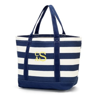 NAVY STRIPE CANVAS TOTE BAG