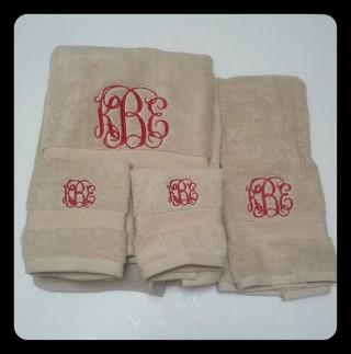 3 Piece Monogrammed Towel Set