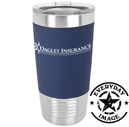 40 - 20 oz. NAVY WITH WHITE Silicone Grip   Tumbler DAGLEY INSURANCE