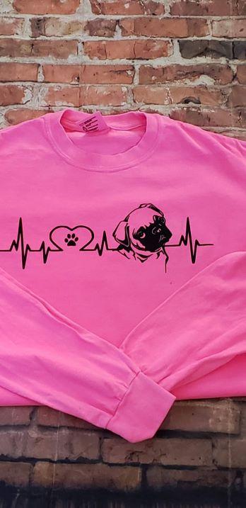 PUG EKG LOVE SHIRT