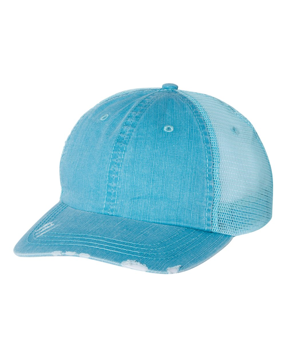 aqua blue trucker hat FMWIB CUSTOM LEATHER PATCH