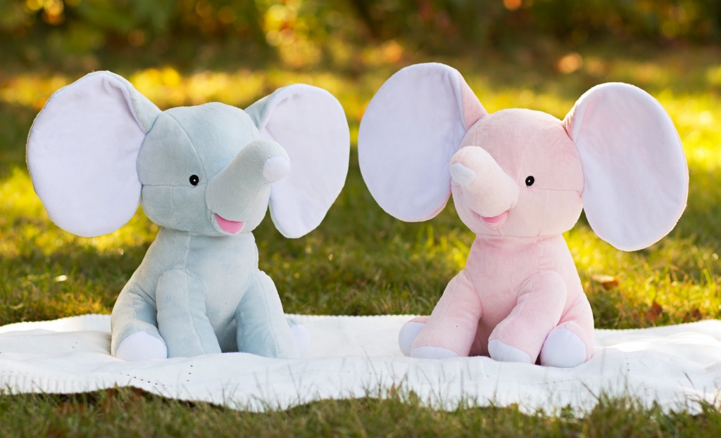 stuffed elephant baby announcement