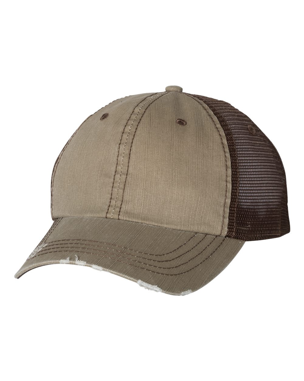KHAKI AND BROWN TRUCKER CAP WITH LOGO CAP CUSTOMIZED