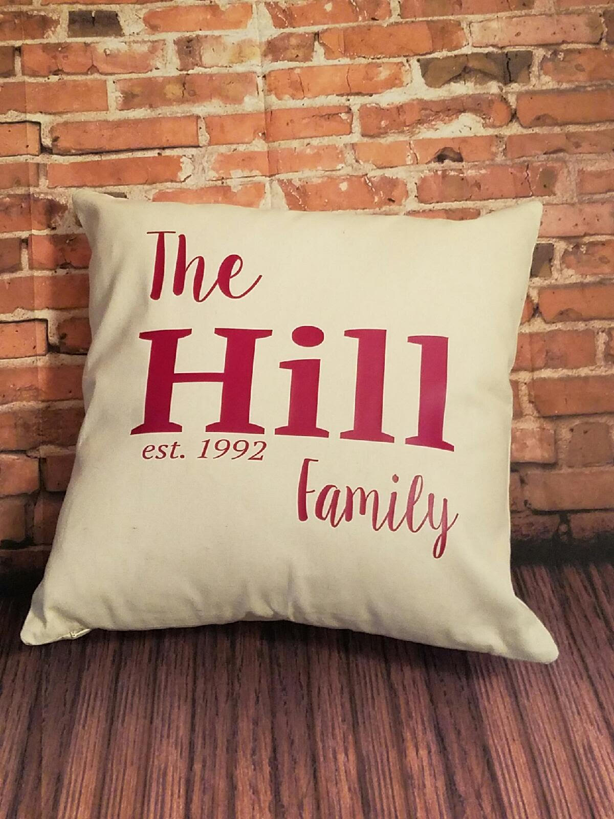 PERSONALIZED FAMILY NAME PILLOW CASE