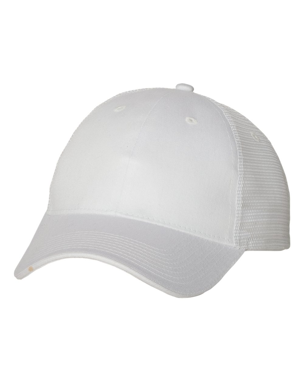 FULL WHITE TRUCKER CAP WITH LEATHER PATCH